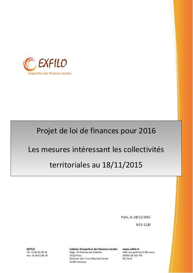 EXFILO Tél : 01.83.62.86.35 Fax : 01.83.62.86.34 Cabinet d'expertise des finances locales Siège : 65 Avenue des Gobelins 7...