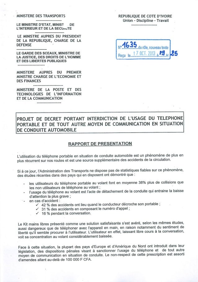 Loi N°1635 du 17-10-2013 portant sur l'interdiction du telephone au volant en Côte d'Ivoire
