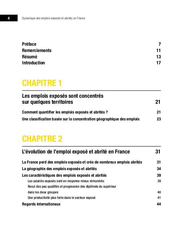 dynamique des emplois expos u00e9s et abrit u00e9s en france