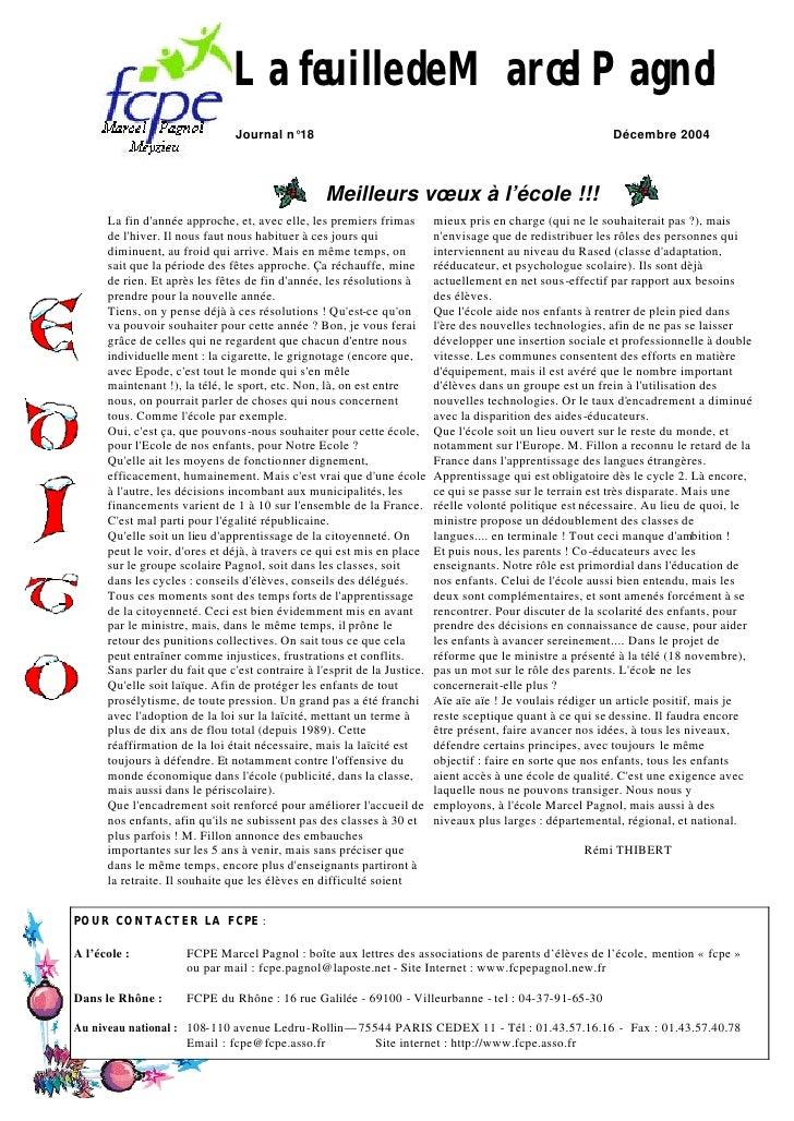La feuille de Marcel Pagnol                                 Journal n°18                                                  ...