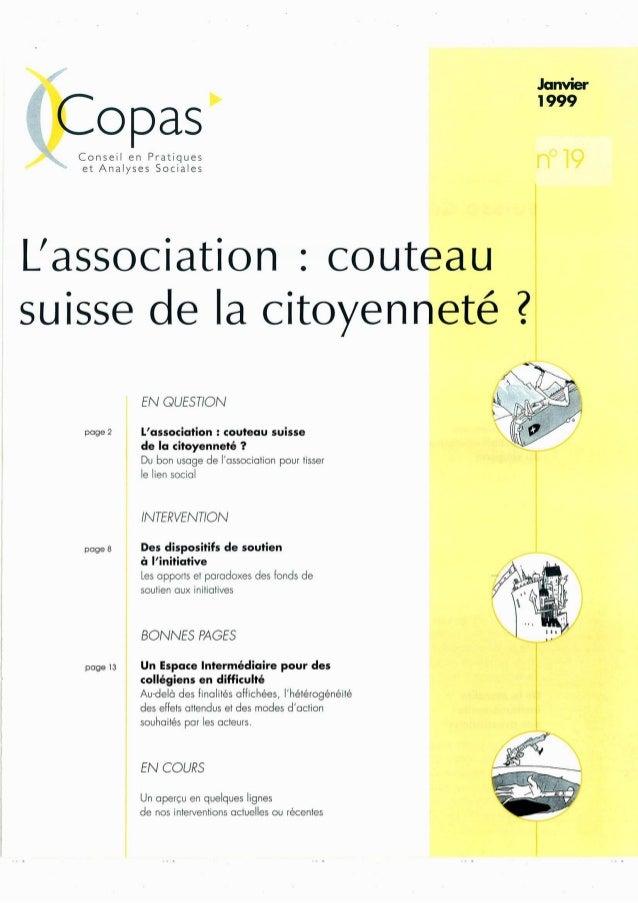 Copas  Conseil en PI`atiqUeS et Analyses Socìaĩes  L'aSSOCÍatÍOn Z Couteau Suisse de la CÍtOyenneté 2  pơge 2  pơge 8  pcg...