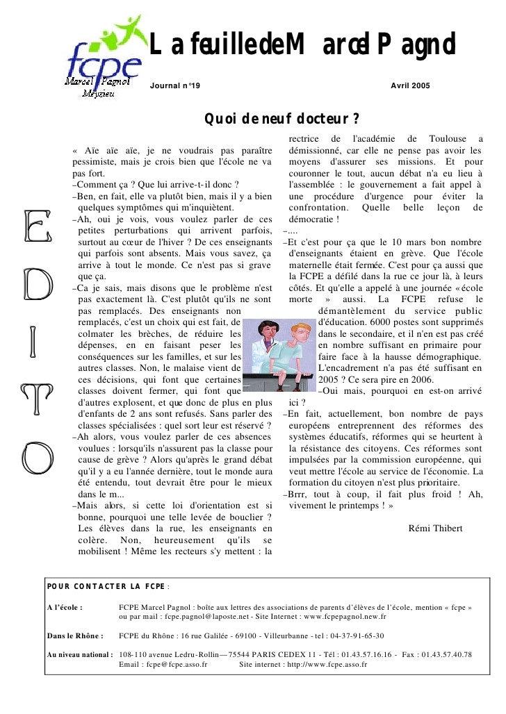 La feuille de Marcel Pagnol                             Journal n°19                                                      ...