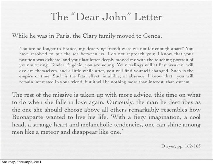 dear john letter template - napoleon session i ambition