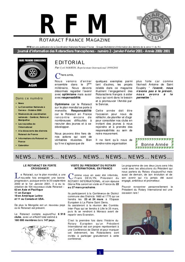 ROTARACT FRANCE MAGAZINE  Journal d'information des Rotaractiens francophones - numéro 2 - Janvier-Février 2001 - Année 20...