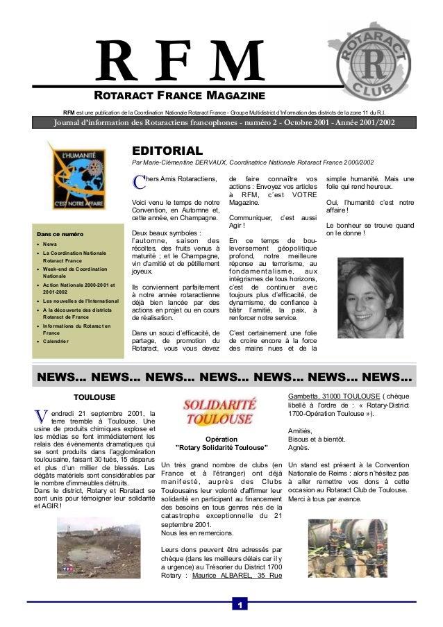 ROTARACT FRANCE MAGAZINE  Journal d'information des Rotaractiens francophones - numéro 2 - Octobre 2001 - Année 2001/2002 ...