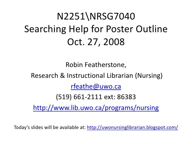 N2251NRSG7040     Searching Help for Poster Outline              Oct. 27, 2008                    Robin Featherstone,     ...