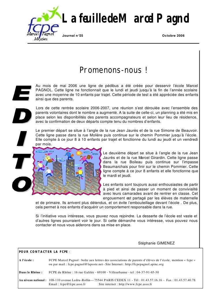 La feuille de Marcel Pagnol                               Journal n°25                                                    ...