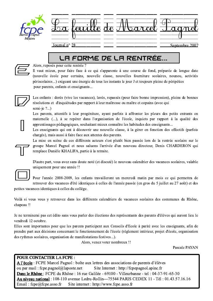 La feuille de Marcel Pagnol                          Journal n° 28                                                        ...
