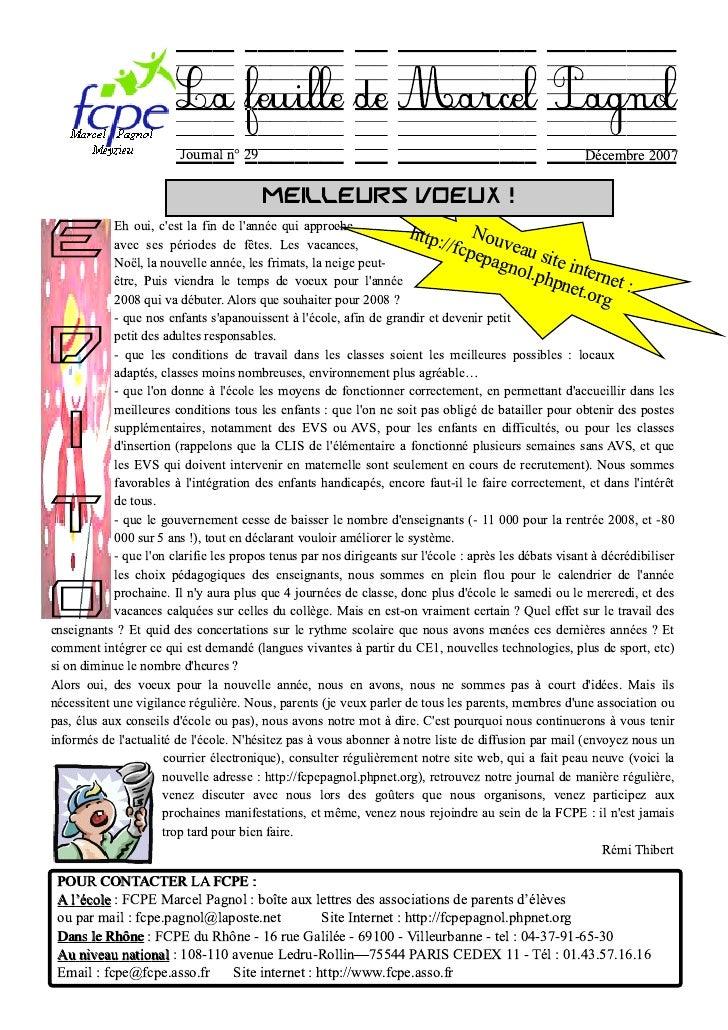 La feuille de Marcel Pagnol                          Journal n° 29                                                        ...