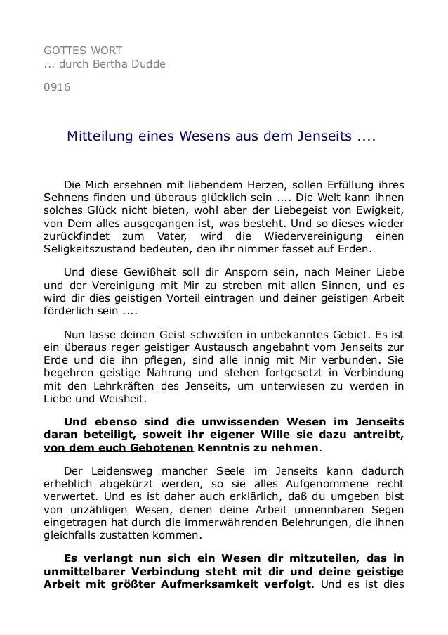 GOTTES WORT ... durch Bertha Dudde 0916 Mitteilung eines Wesens aus dem Jenseits .... Die Mich ersehnen mit liebendem Herz...