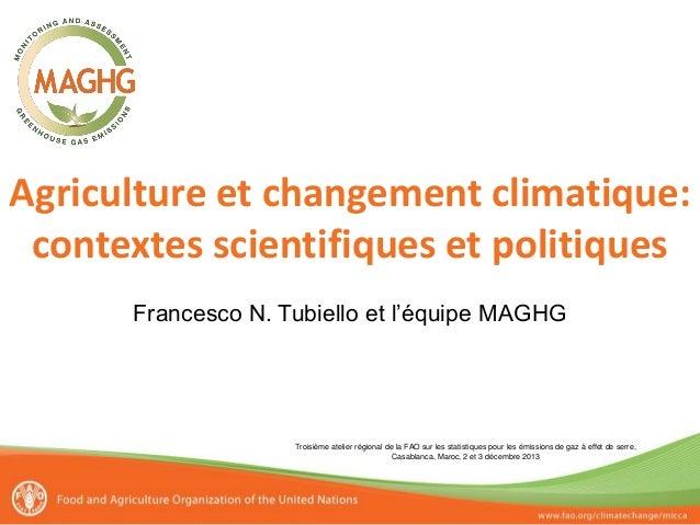 Agriculture et changement climatique: contextes scientifiques et politiques Francesco N. Tubiello et l'équipe MAGHG  Trois...