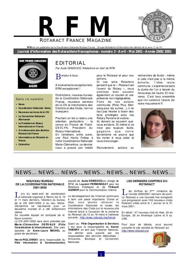 ROTARACT FRANCE MAGAZINE  Journal d'information des Rotaractiens francophones - numéro 3 - Avril - Mai 2001 - Année 2000/2...