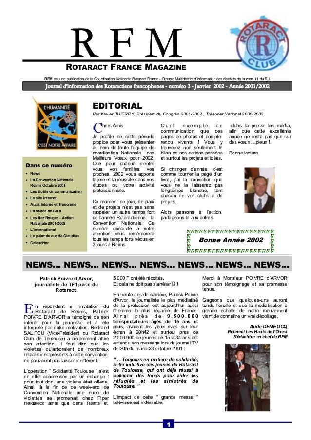 ROTARACT FRANCE MAGAZINE  Journal d'information des Rotaractiens francophones - numéro 3 - Janvier 2002 - Année 2001/2002 ...