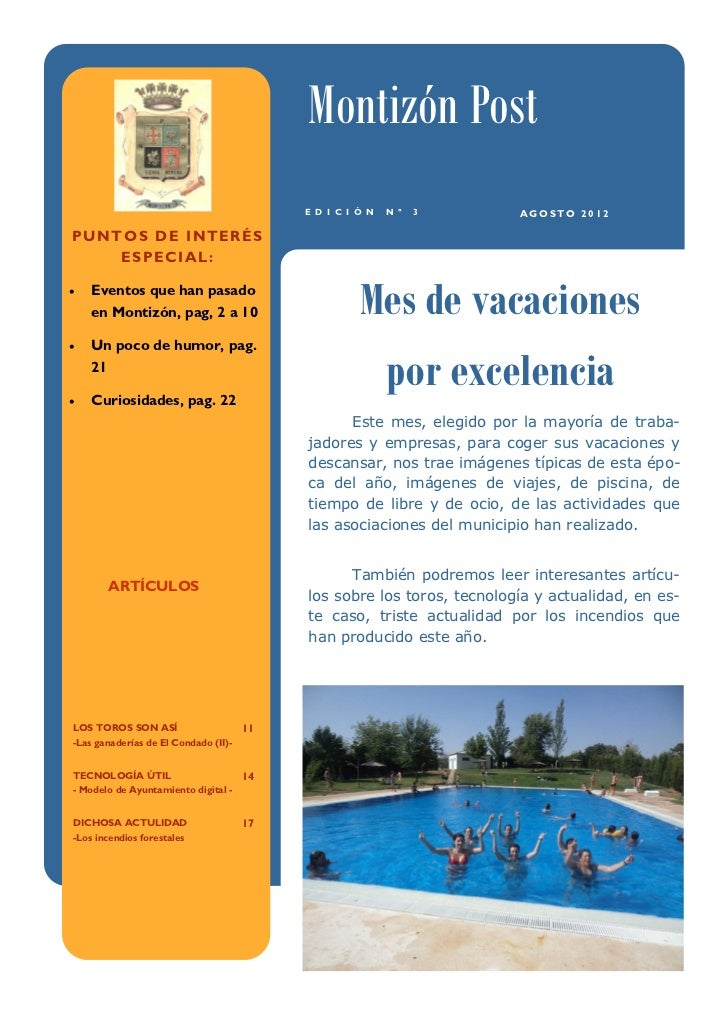 Montizón Post                                         E D I C I Ó N   N º   3      AGOSTO 2012PUNTOS DE INTERÉS    ESPECIA...