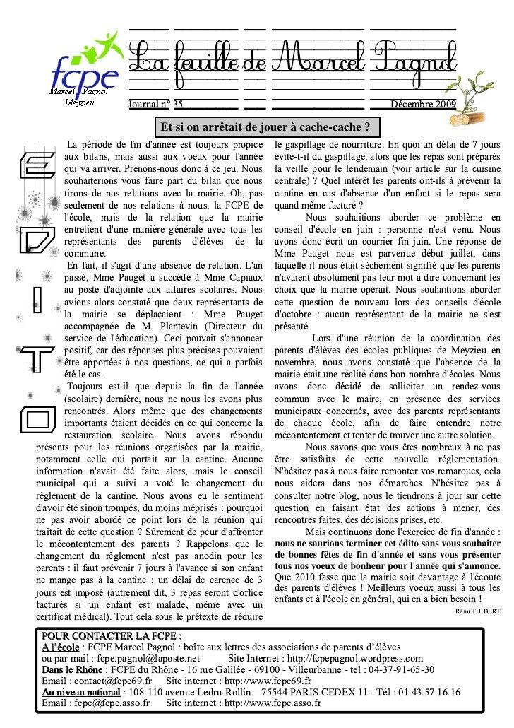 La feuille de MarcelPagnol                         Journal n° 35                                                        Dé...