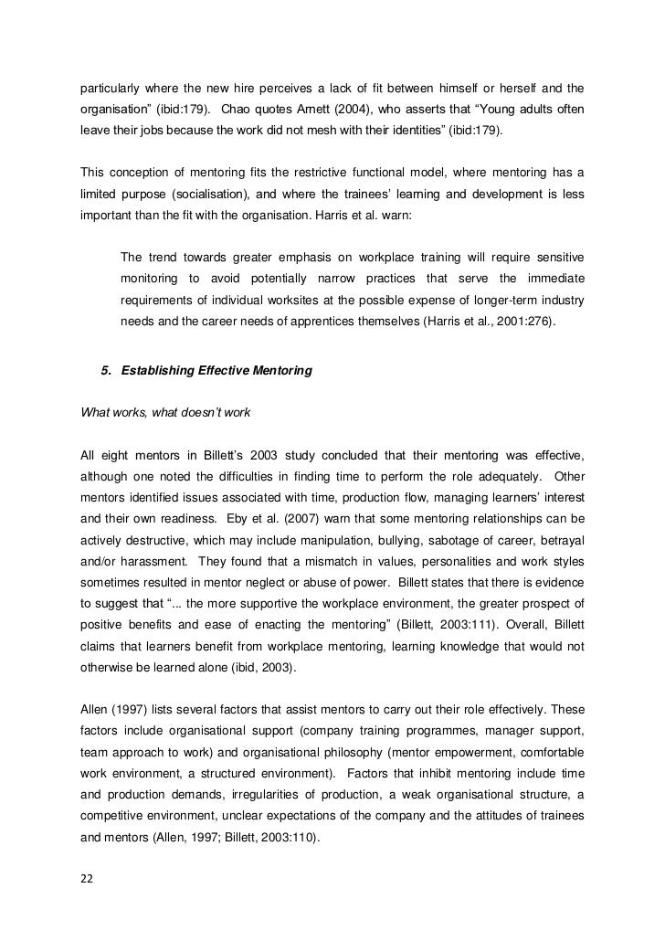 Example Essay on Mentoring