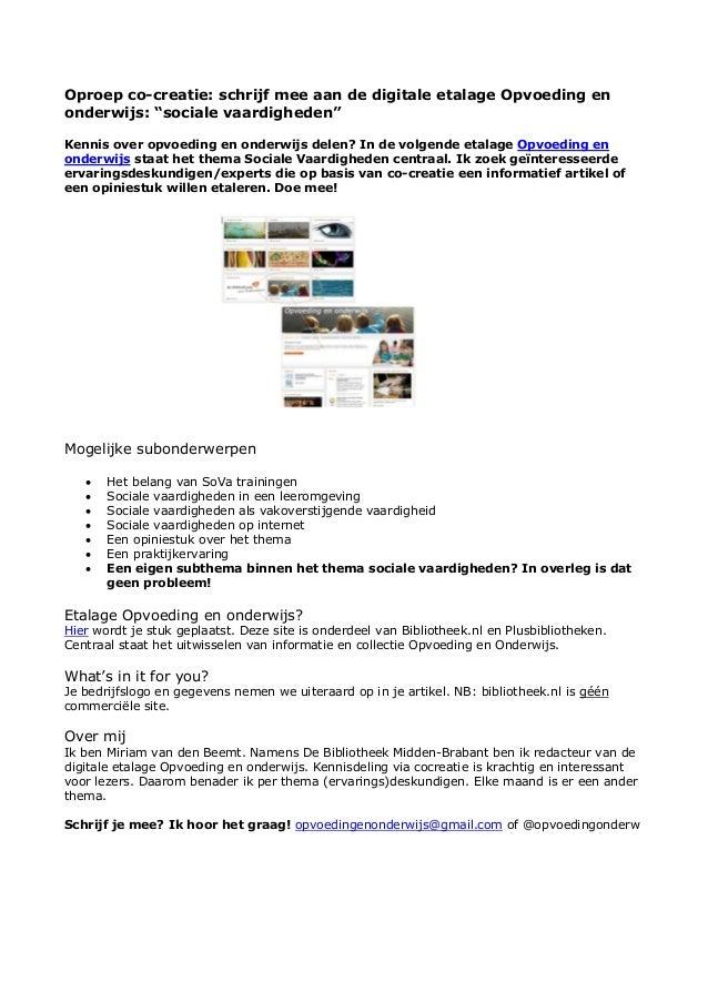 """Oproep co-creatie: schrijf mee aan de digitale etalage Opvoeding en onderwijs: """"sociale vaardigheden"""" Kennis over opvoedin..."""