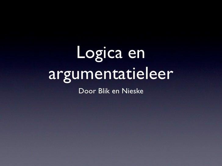 Logica en argumentatieleer    Door Blik en Nieske