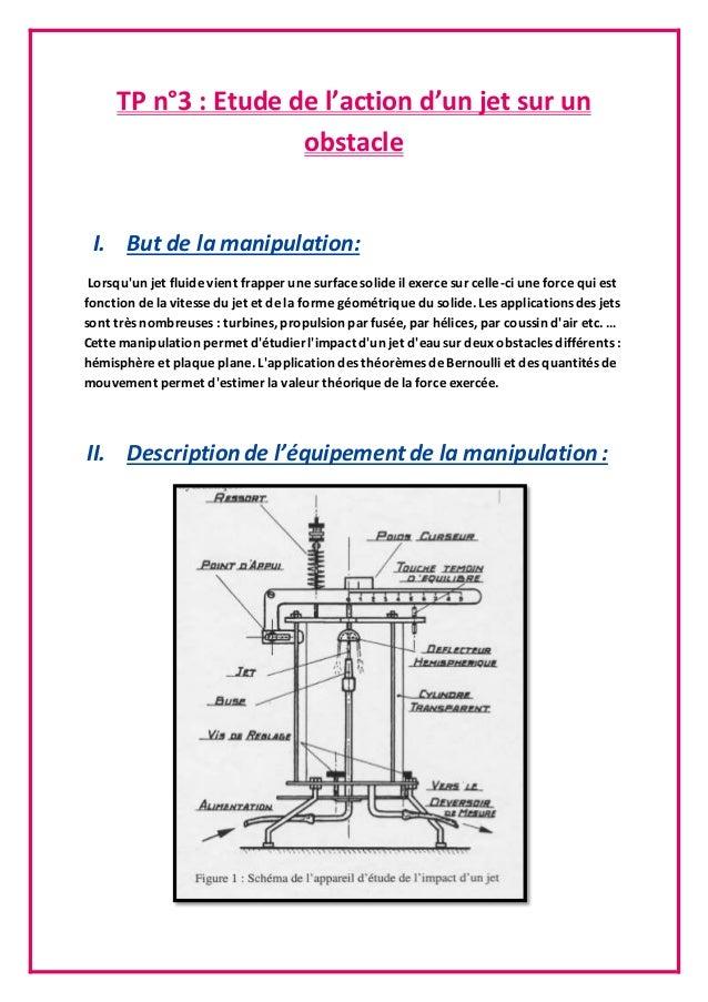 TP n°3 : Etude de l'action d'un jet sur un obstacle I. But de la manipulation: Lorsqu'un jet fluide vient frapper une surf...