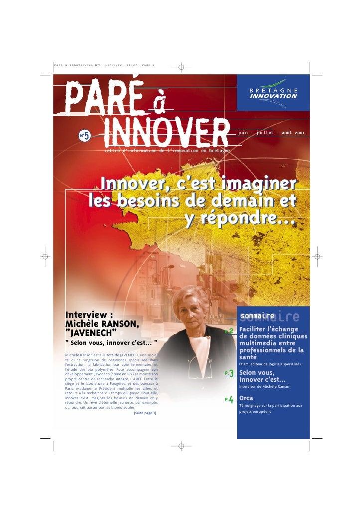 PARÉ à  N°5                    INNOVER                      Lettre d'information de l'innovation en bretagne              ...