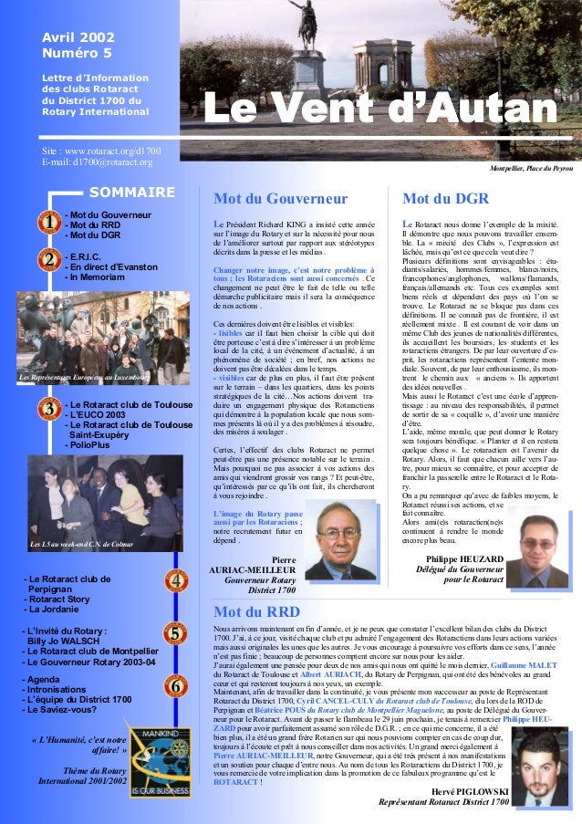 Avril 2002  Numéro 5  Lettre d'Information  des clubs Rotaract  du District 1700 du  Rotary International  Site : www.rota...