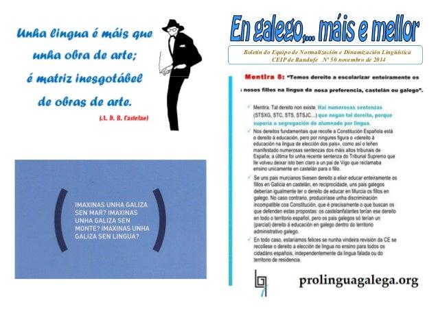 Boletín do Equipo de Normalización e Dinamización Lingüística  CEIP de Randufe Nº 50 novembro de 2014