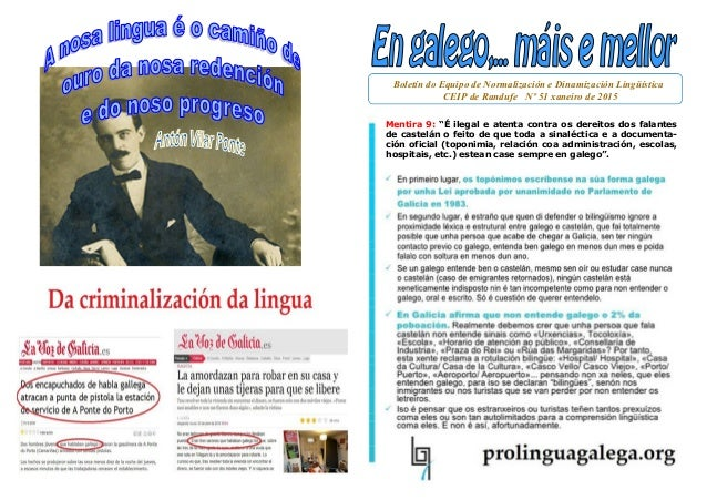 """Boletín do Equipo de Normalización e Dinamización Lingüística CEIP de Randufe Nº 51 xaneiro de 2015 Mentira 9: """"É ilegal e..."""