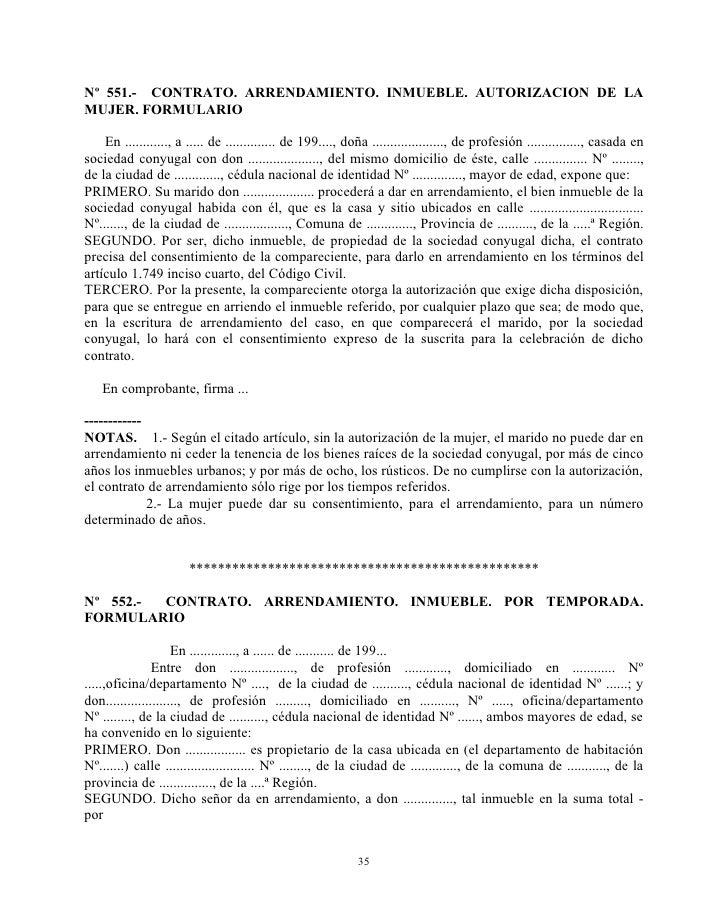 Nº 551.- CONTRATO. ARRENDAMIENTO. INMUEBLE. AUTORIZACION DE LAMUJER. FORMULARIO    En ............, a ..... de ..............