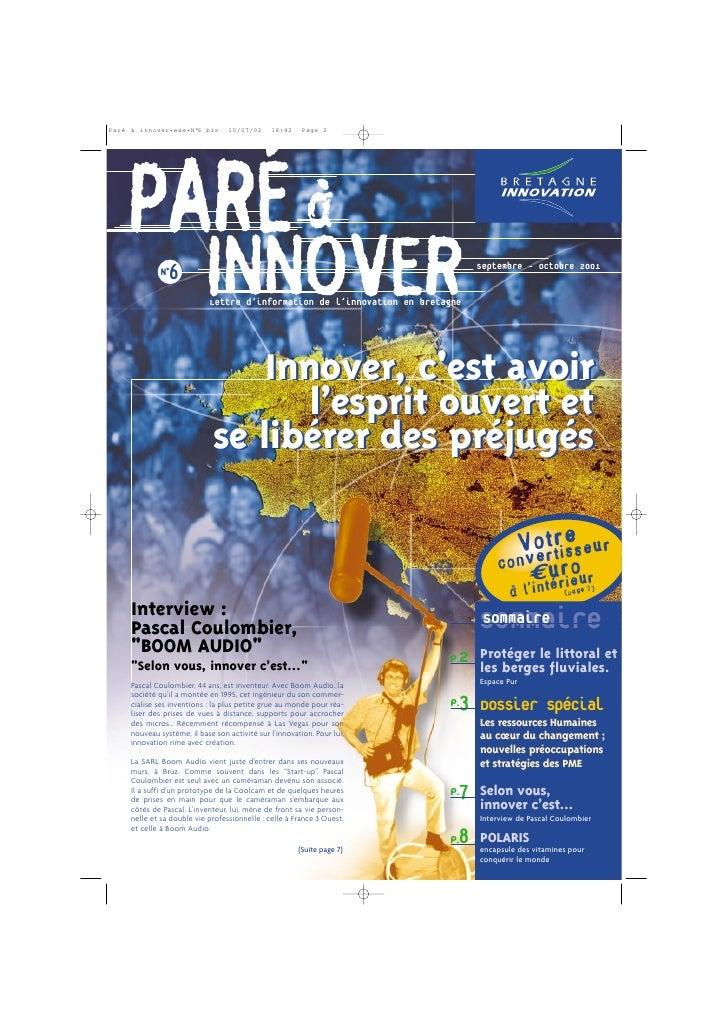 PARÉ à   N°6                      INNOVER                        Lettre d'information de l'innovation en bretagne         ...