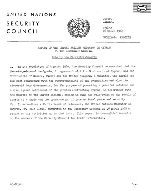 UNITED  NATIONS Distr. GENERAL  SECURITY CQUNCIL  s/6253 26 March 1965 ORIGINAL:  ENGLISB  REPORT OF THE LJNITED NATIONS M...