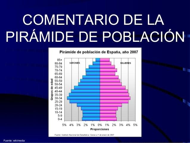 COMENTARIO DE LA PIRÁMIDE DE POBLACIÓN Fuente: wikimedia