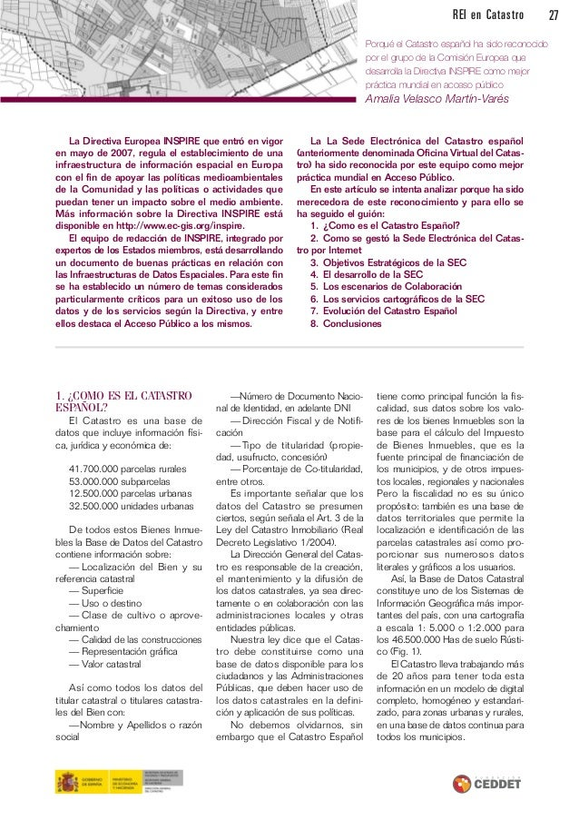 Revista de la red de expertos iberoamericanos en catastro n 6 for Oficina virtual del catrasto