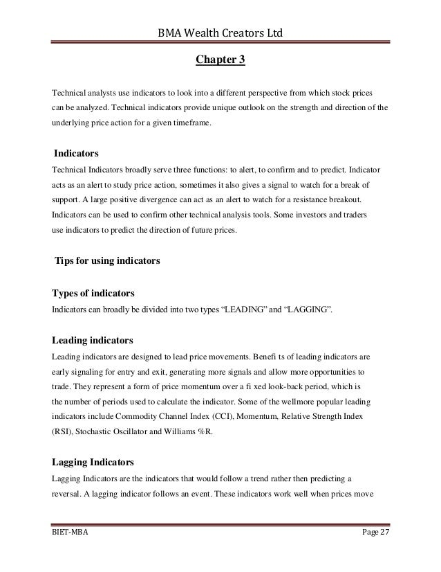 Lagging and leading indicators examples of thesis