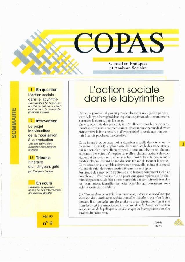 2 En question  L'aCtÍOn Sociale  dans le labyrinthe  Un Consultant fait le point sur Un thème quí nous paraít central dans...