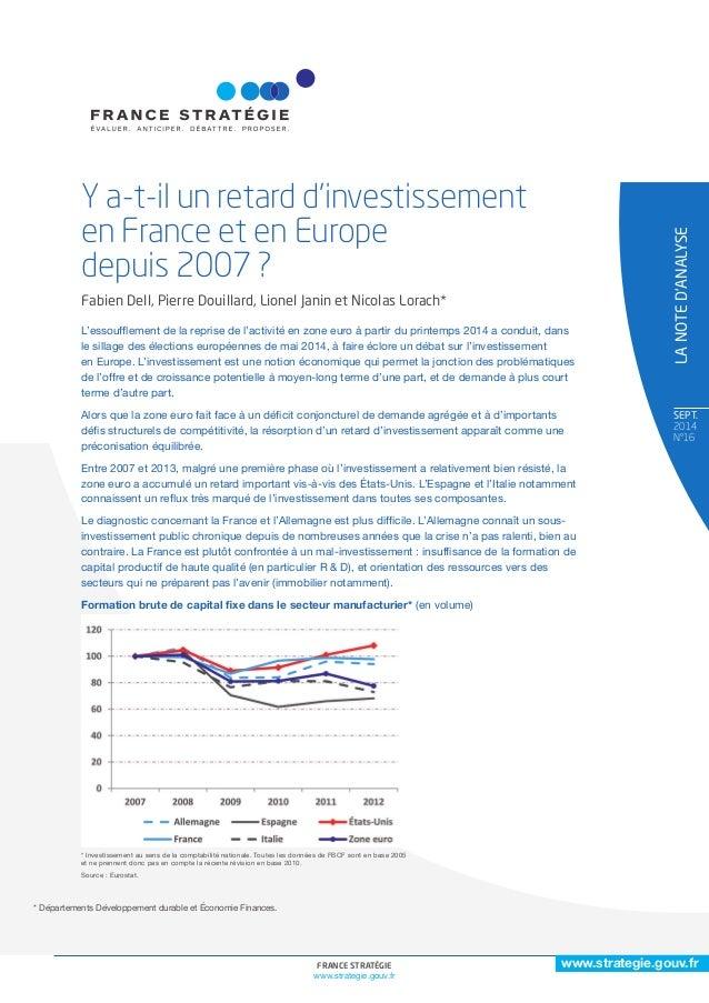 www.strategie.gouv.fr  FRANCE STRATÉGIE 1  www.strategie.gouv.fr  SEPT.  2014  N°16  * Départements Développement durable ...