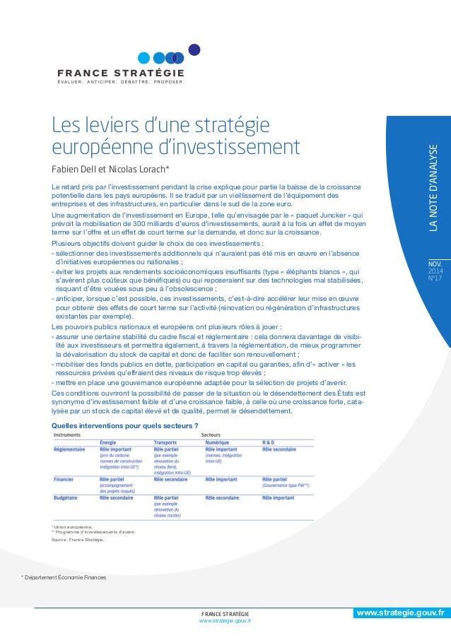 www.strategie.gouv.fr  FRANCE STRATÉGIE 1  www.strategie.gouv.fr  NOv.  2014  N°17  * Département Économie Finances  LA NO...
