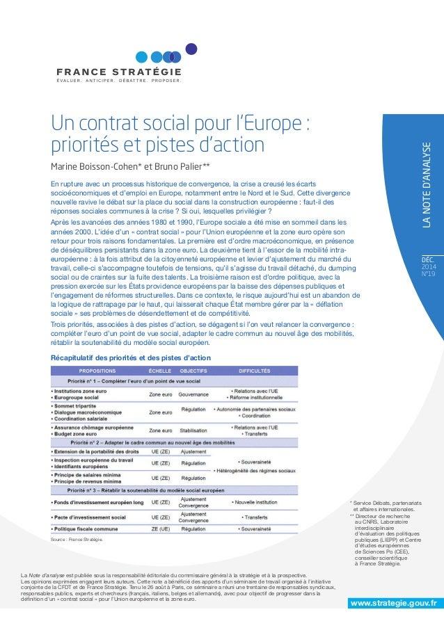 www.strategie.gouv.fr DÉC. 2014 N°19 * Service Débats, partenariats et affaires internationales. ** Directeur de recherche...