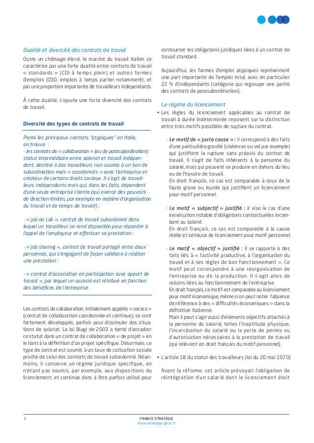 Contrat de travail les réformes italiennes