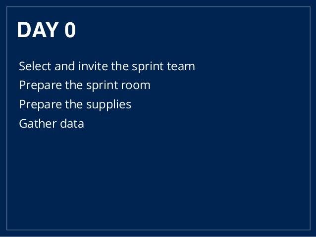 DAY 0 Select and invite the sprint team Prepare the sprint room Prepare the supplies Gather data