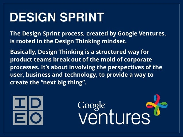 The Design Sprint process, created by Google Ventures, is rooted in the Design Thinking mindset. Basically, Design Thinkin...