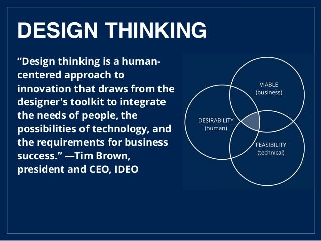 """""""Design thinking is a human- centered approach to innovation that draws from the designer's toolkit to integrate the needs..."""