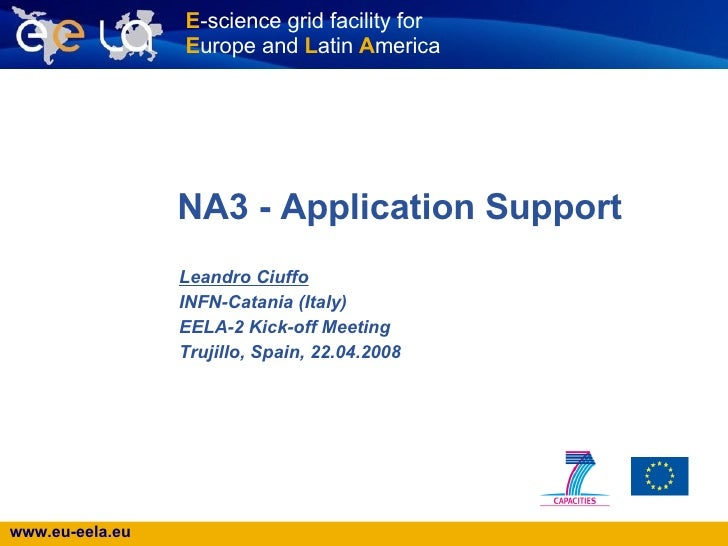 NA3 - Application Support  Leandro Ciuffo INFN-Catania (Italy) EELA-2 Kick-off Meeting Trujillo, Spain, 22.04.2008