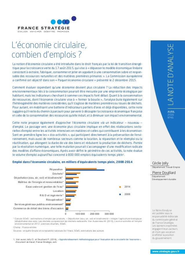 www.strategie.gouv.fr AVRIL 2016 N°46 L'économie circulaire, combien d'emplois ? LANOTED'ANALYSE La Note d'analyse est pub...
