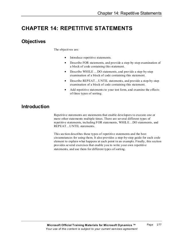 Chapter 14: Repetitive StatementsCHAPTER 14: REPETITIVE STATEMENTSObjectives                The objectives are:           ...