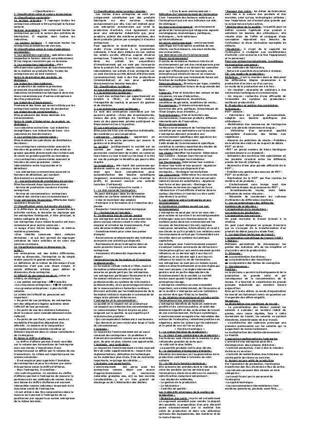 « Classification »                  C) Classification selon la valeur ajoutée :                    « E/se & sons environne...