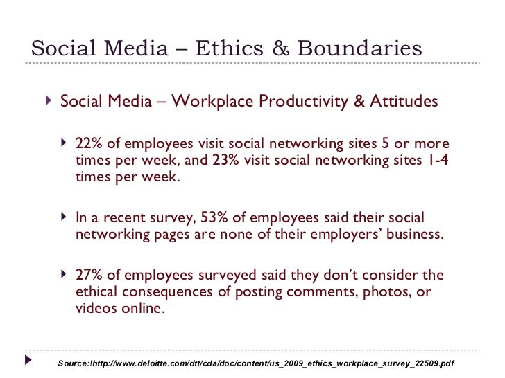 social networking and ethics Social media has a much wider reach beyond marketing and technology other implications are rarely discussed there are rules of ethics and etiquette for social media that must be followed.