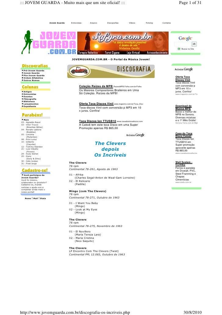 ::: JOVEM GUARDA - Muito mais que um site oficial! :::                                                                    ...