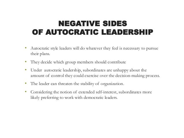 what is an autocratic leadership style Transcript of influence of leadership styles of principals in schools  laissez-faire leadership style autocratic  influence of leadership styles of principals.