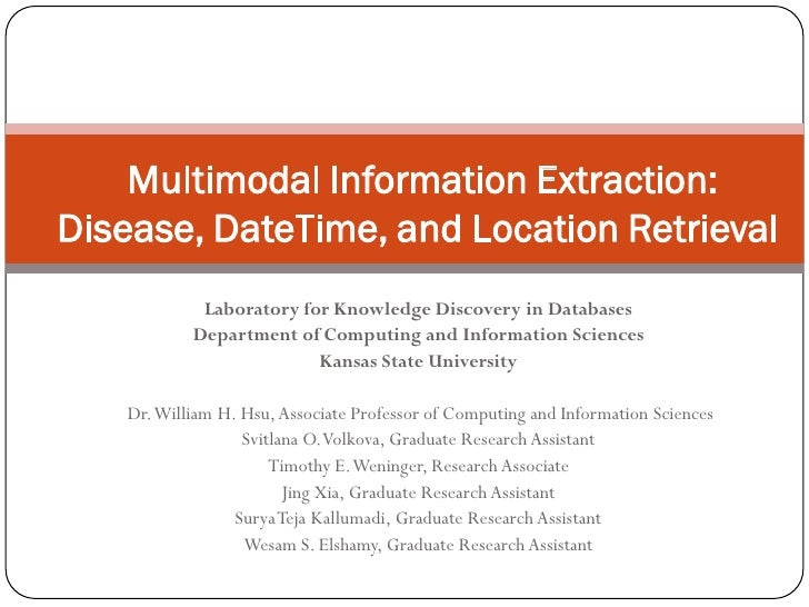 Multimodal Information Extraction: Disease, DateTime, and Location Retrieval              Laboratory for Knowledge Discove...