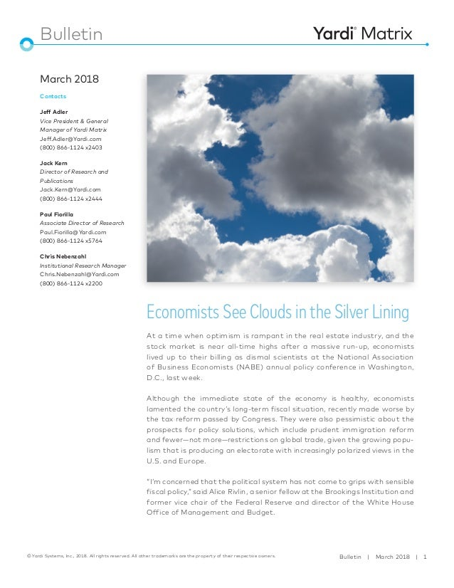Economists See Clouds in the Silver Lining Yardi Matrix